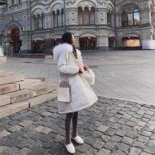 外贸尾单服装批发 反季大毛领鹅绒服 中长款加厚鹅绒羽绒服女 新品韩版羽绒服 高端羽绒服 个性羽绒服