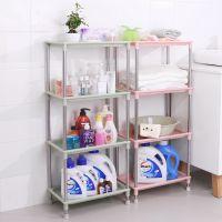放衣服简约家用加厚卫生间浴室置物架不锈钢置地式3层4无痕落地式