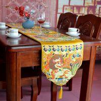 一件代发新中式奢华仿云锦如意头餐桌茶几桌旗