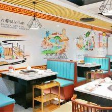 六婆串串火锅店家具定做,火锅店卡座沙发桌子组合案例