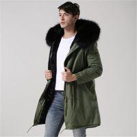 男式中长款棉衣军绿色保暖棉服大码男装外套2018欧美秋冬新款