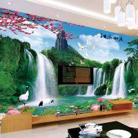 大型壁画电视背景墙效果图壁纸 客厅卧室中式无缝3d山水风景墙纸