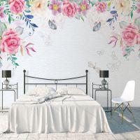 厂家批发 艺术墙纸创意电视背景墙壁纸卧室田园风格花卉大型壁画