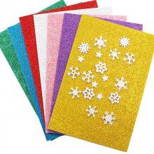雪花五角星亮片海绵纸 金粉闪光纸贴画儿童手工制作DIY材料带背胶