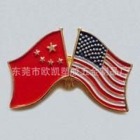 中国美国两面旗帜纪念章 中美交叉国旗徽章胸章直销工厂 中美友谊