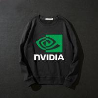 外贸新款AMD NVIDIA 英伟达男士长袖圆领套头印花卫衣潮款