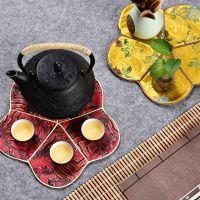 中国风仿云锦织锦茶道配件功夫茶杯垫 防水印装饰茶杯垫隔热垫