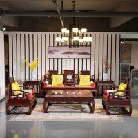 河北大城红木家具城 印尼黑酸枝沙发组合 红木家具装修效果 阔叶黄檀 古典沙发价格及图片大全