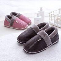 棉拖鞋女冬季新款皮质拖鞋居家棉拖鞋防水防滑PU包跟拖鞋批发