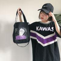 日系原宿风单肩包女ins可爱软妹透明购物袋学生帆布包chic斜跨包