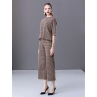 楚贝尔2018秋冬新款格子时尚套装流苏羊毛针织打底衫阔腿七分裤两件套女