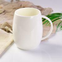 浩新厂家批发骨瓷纯白广告杯 创意陶瓷中腰鼓马克杯广告杯定制LOGO