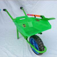 儿童户外铁架独轮小推车 带塑料铲推土儿童沙滩 独轮推车厂家直销