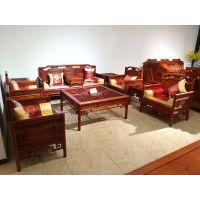 华夏一品红木缅甸花梨檀雕明式客厅沙发十一件套