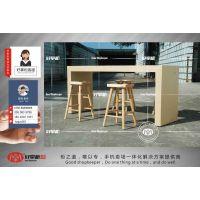 新款木纹展示柜台厂家制作,华为靠墙配件柜