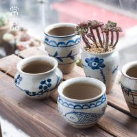 CHANGP景德镇手工日系绘画多肉古典花盆彩釉创意植物花盆粗陶瓷器