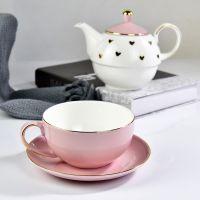 唐山浩新厂家批发骨瓷子母壶套装 金边陶瓷茶杯礼品茶壶定制logo