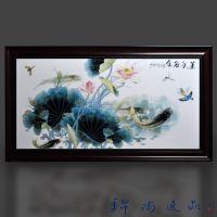 禅意装饰画小黑框玄关餐厅壁画茶楼茶室中国风江南水乡陶瓷瓷板画