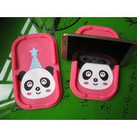 可爱卡通熊猫硬币杂物汽车仪表台收纳盒,防滑垫导航支架