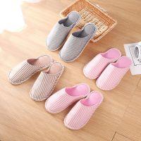 日式简约冬季拖鞋 居家条纹情侣拖鞋室内保暖拖鞋防滑棉拖鞋现货