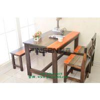 特做旧工业风脸谱重庆老火锅餐桌椅主题火锅店实木条凳 古典中式