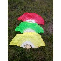 舞蹈扇子、双面绿黄粉秧歌广场舞折扇、健身双面彩扇批发定做