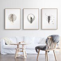 北欧现代客厅家居装饰画三联画沙发背景挂画壁画简约餐厅墙画羽毛