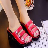 2018新款韩版夏季凉鞋女厚底松糕拖鞋高跟室外坡跟凉拖鞋女一字拖