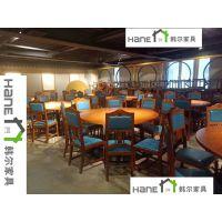 上海古典中式韩尔品牌 工厂直销SH-19湘菜餐桌椅 酒楼餐厅实木桌椅定制