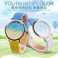 仿水时装皮带手表 个性潮流中性渐变色女士手表创意表盘皮带女表