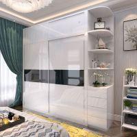 现代简约烤漆推拉门衣柜组合经济型板式白色木质移门滑门整体衣柜