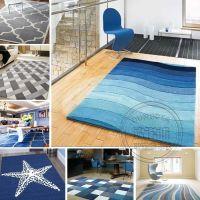 一件代发地中海风格条纹地毯客厅沙发茶几北欧现代家用卧室长方形