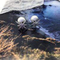 米字六芒星星雪花天然淡水珍珠耳钉925纯银微镶满钻韩版一件代发