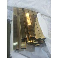 304无指纹拉丝黄钛金不锈钢矩形管50*10