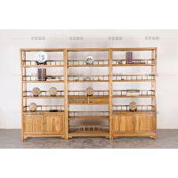新中式老榆木书架书柜博古架多宝阁实木茶叶架子展示柜置物架货架