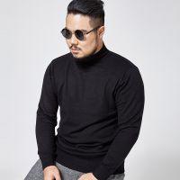 大码男装冬季新款半高领毛衣 胖子男士加肥加大弹力打底衫针织衫