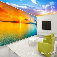 无缝大型壁画壁纸电视客厅沙发卧室唯美夕阳湖泊主题空间背景墙