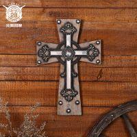 美式复古十字架挂饰  创意家居软装饰品酒吧酒店墙面挂件批发定制