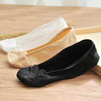 船袜 夏季蕾丝花边隐形袜女超薄浅口硅胶防滑短袜纯色低帮袜