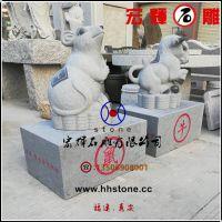 (芝麻灰)石材雕刻十二生肖动物整套销售