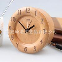 北欧原木质挂钟客厅创意静音时钟木制木挂表简约钟表木时尚座钟