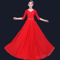 合唱服长裙大摆裙大合唱团演出服装女成人中老年连衣裙长款礼服新