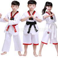 儿童跆拳道柔道衣服 男女童抬拳道表演服练功服童装少儿武术服装