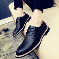 一件代发春季流行黑色小皮鞋男士英伦风正装休闲鞋商务增高尖头潮