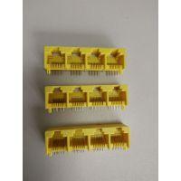 RJ45交换机/四联114Y黄色网口55.5X14.5X13-纬力连接器