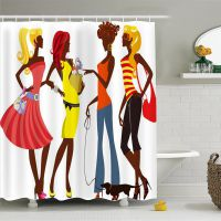 爆款热销非洲女孩3D卡通浴帘 纯铜扣眼来图定制 上千花型一件代发