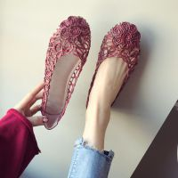 一件代发欧美风夏季新款透气圆头编织镂空防滑豆豆软底平底女单鞋