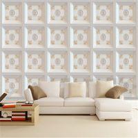 定制3D欧式客厅壁纸家装电视背景墙布不织布花朵水晶钻石软包壁画