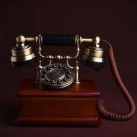 礼品摆件欧式仿古有绳电话座机家用按键客厅卧室实木办公室电话机