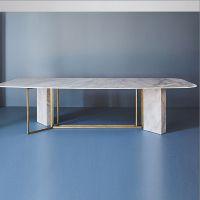 (定制)北欧风格大理石餐桌设计师新款样板房长方形不锈钢餐台